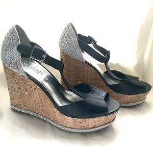 Ralph Lauren Cork Platform Wedge Sandals